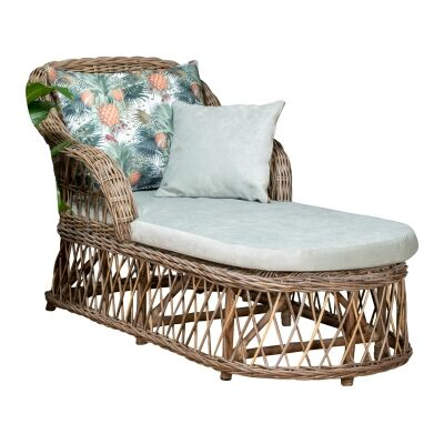 Nassau Rattan Chaise / Daybed, 160cm, Natural / Seafoam