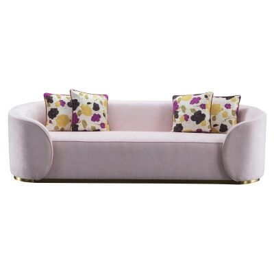Elliot Velvet Fabric Sofa, 3 Seater, Pastel Pink