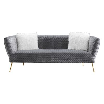 Britton Quilted Velvet Fabric Sofa, 3 Seater, Grey