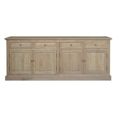 Hayden Oak Timber 4 Door 4 Drawer Sideboard, 200cm, Weathered Oak
