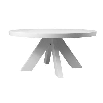 Hilaire Birch Timber Round Coffee Table, 90cm, Matt White