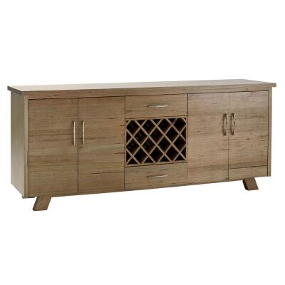 Lerida Victorian Ash Timber 4 Door 2 Drawer Buffet Table with Wine Rack, 240cm