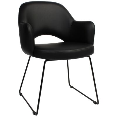 Albury Commercial Grade Vinyl Dining Armchair, Metal Sled Leg, Black