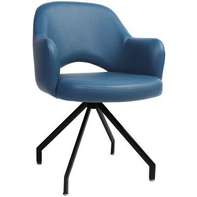 Albury Commercial Grade Vinyl Dining Armchair, Metal Trestle Leg, Blue / Black