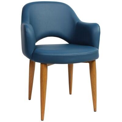 Albury Commercial Grade Vinyl Dining Armchair, Metal Leg, Blue / Light Oak