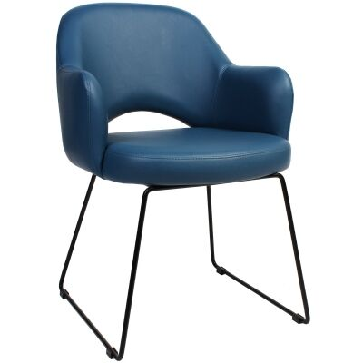 Albury Commercial Grade Vinyl Dining Armchair, Metal Sled Leg, Blue / Black