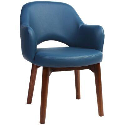 Albury Commercial Grade Vinyl Dining Armchair, Timber Leg, Blue / Light Walnut
