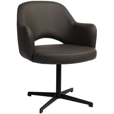 Albury Commercial Grade Vinyl Dining Armchair, Metal Blade Leg, Charcoal / Black