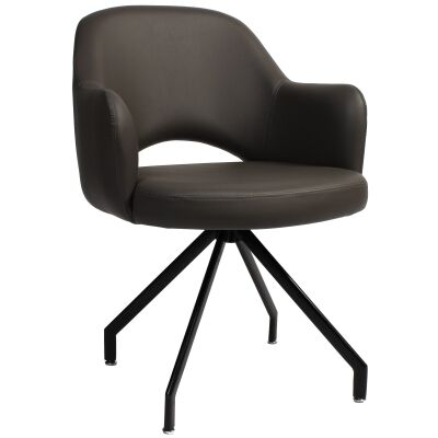 Albury Commercial Grade Vinyl Dining Armchair, Metal Trestle Leg, Charcoal / Black