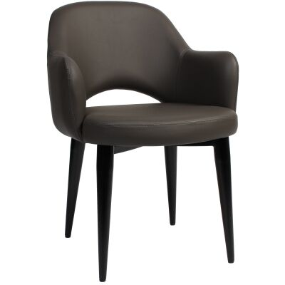 Albury Commercial Grade Vinyl Dining Armchair, Metal Leg, Charcoal / Black