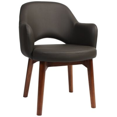 Albury Commercial Grade Vinyl Dining Armchair, Timber Leg, Charcoal / Light Walnut