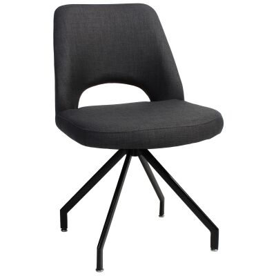 Albury Commercial Grade Fabric Dining Chair, Metal Trestle Leg, Charcoal / Black