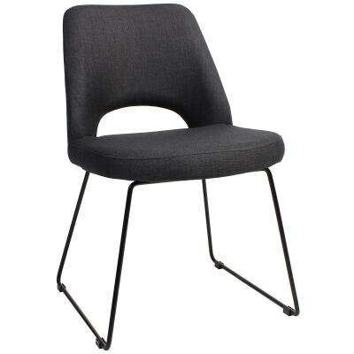 Albury Commercial Grade Fabric Dining Chair, Metal Sled Leg, Charcoal / Black