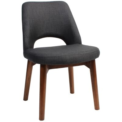 Albury Commercial Grade Fabric Dining Chair, Timber Leg, Charcoal / Light Walnut