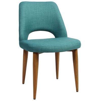 Albury Commercial Grade Fabric Dining Chair, Metal Leg, Teal / Light Oak