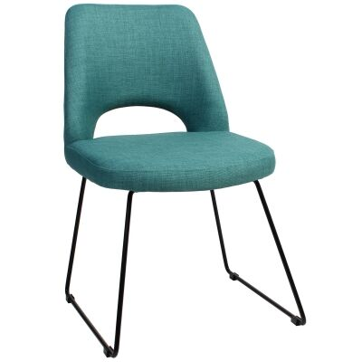 Albury Commercial Grade Fabric Dining Chair, Metal Sled Leg, Teal / Black