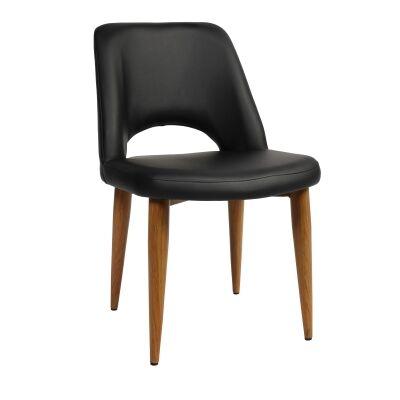 Albury Commercial Grade Vinyl Dining Chair, Metal Leg, Black / Light Oak