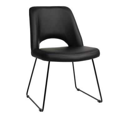Albury Commercial Grade Vinyl Dining Chair, Metal Sled Leg, Black