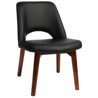 Albury Commercial Grade Vinyl Dining Chair, Timber Leg, Black / Light Walnut