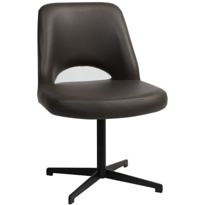 Albury Commercial Grade Vinyl Dining Chair, Metal Blade Leg, Charcoal / Black