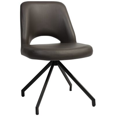 Albury Commercial Grade Vinyl Dining Chair, Metal Trestle Leg, Charcoal / Black
