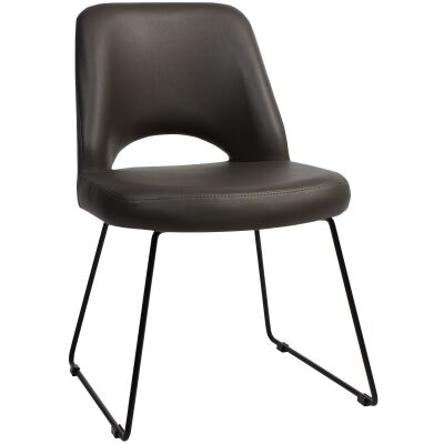 Albury Commercial Grade Vinyl Dining Chair, Metal Sled Leg, Charcoal / Black
