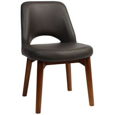 Albury Commercial Grade Vinyl Dining Chair, Timber Leg, Charcoal / Light Walnut