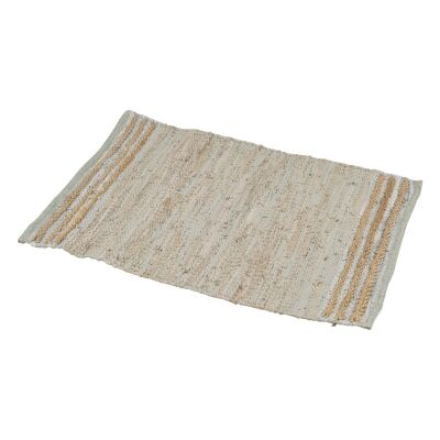 Sumak Hand Loomed Leather & Jute Rug, 60x90cm, Beige