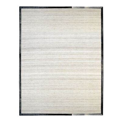 Signature Cowhide Trim Handwoven Wool Rug, 230x160cm, Beige / Grey