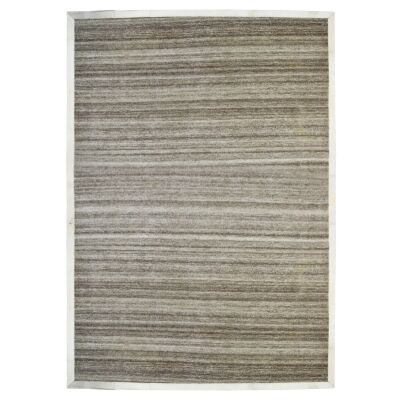 Signature Cowhide Trim Handwoven Wool Rug, 230x160cm, Brown / Cream