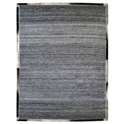 Signature Cowhide Trim Handwoven Wool Rug, 230x160cm, Charcoal / Grey