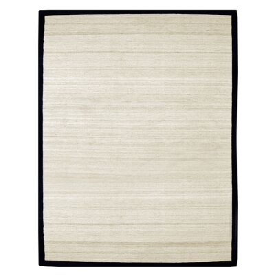 Signature Cowhide Trim Handwoven Wool Rug, 230x160cm, Sand / Black