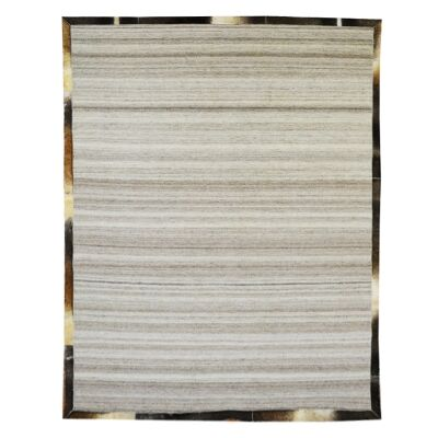 Signature Cowhide Trim Handwoven Wool Rug, 230x160cm, Silver / Brown