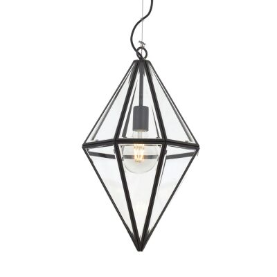 Silva Metal & Glass Pendant Light, Small, Black