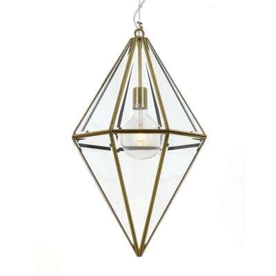 Silva Metal & Glass Pendant Light, Large, Antique Brass