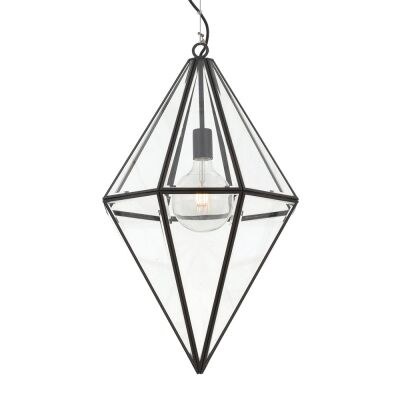 Silva Metal & Glass Pendant Light, Large, Black