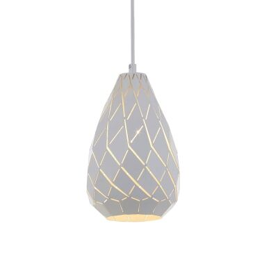 Simon Metal Pendant Light, Small, White