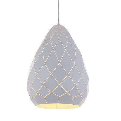 Simon Metal Pendant Light, Large, White