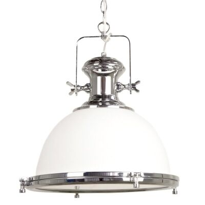 Gaia Industrial Pendant Light with Translucent Shade - Chrome