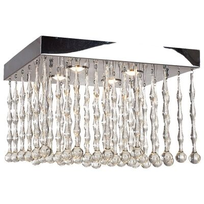Magnus Steel and Crystal Ceiling Light