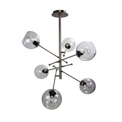 Ripley Metal & Glass Pendant Light, Antique Brass