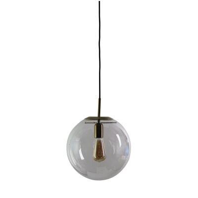 Newton Spherical Glass Pendant Light, 30cm, Brushed Brass