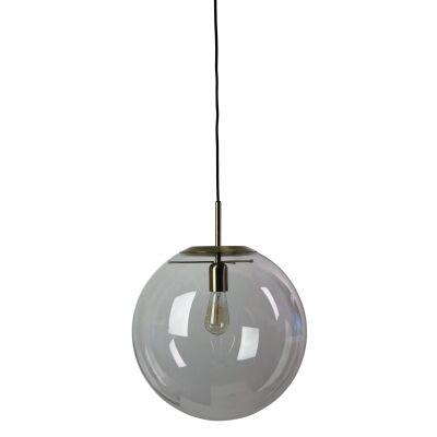 Newton Spherical Glass Pendant Light, 40cm, Brushed Brass