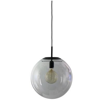 Newton Spherical Glass Pendant Light, 40cm, Matt Black