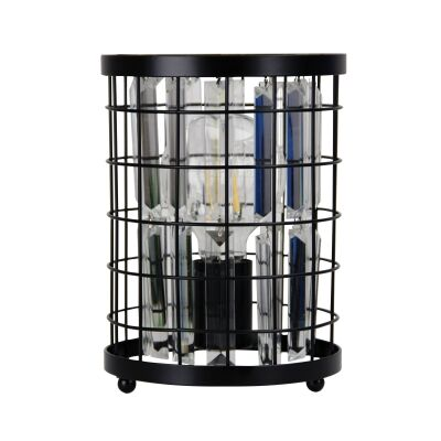 Delaware Metal Caged Crystal Table Lamp