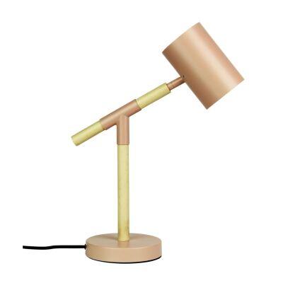 Ludo Timber & Metal LED Desk Lamp, Pale Pink