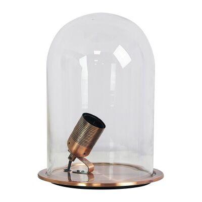Franklin Glass Dome Table Lamp, Antique Copper