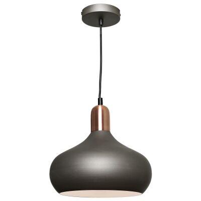 Bevo Metal Pendant Light, Bowl, Charcoal / Copper