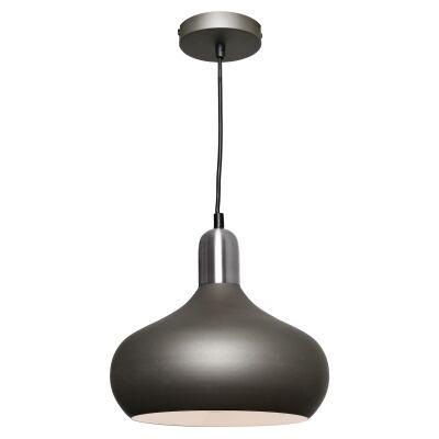 Bevo Metal Pendant Light, Bowl, Charcoal / Satin Chrome