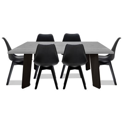 Sloan 7 Piece Dining Table Set, 180cm, with Black MorrisonChairs
